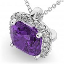 Halo Amethyst Cushion Cut Pendant Necklace 14k White Gold (2.02ct)