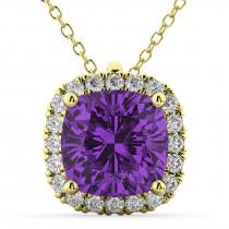 Halo Amethyst Cushion Cut Pendant Necklace 14k Yellow Gold (2.02ct)