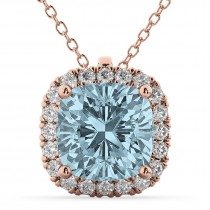 Halo Aquamarine Cushion Cut Pendant Necklace 14k Rose Gold (2.02ct)