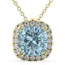 Halo Aquamarine Cushion Cut Pendant Necklace 14k Yellow Gold (2.02ct)