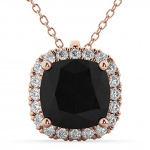Halo Cushion Cut Black Diamond Necklace 14k Rose Gold (2.27ct)