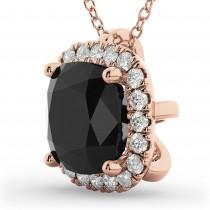 Halo Cushion Cut Black Diamond Necklace 14k Rose Gold (2.27ct)
