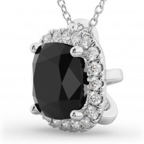 Halo Cushion Cut Black Diamond Necklace 14k White Gold (2.27ct)