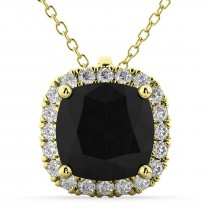 Halo Cushion Cut Black Diamond Necklace 14k Yellow Gold (2.27ct)
