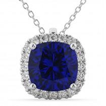 Halo Blue Sapphire Cushion Cut Pendant Necklace 14k White Gold (2.02ct)