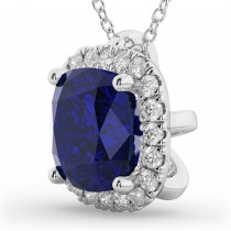 Halo Blue Sapphire Cushion Cut Pendant Necklace 14k White Gold (2.02ct)