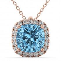 Halo Blue Topaz Cushion Cut Pendant Necklace 14k Rose Gold (2.02ct)