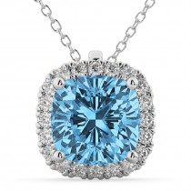 Halo Blue Topaz Cushion Cut Pendant Necklace 14k White Gold (2.02ct)