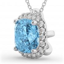 Halo Blue Topaz Cushion Cut Pendant Necklace 14k White Gold (2.02ct)