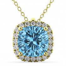 Halo Blue Topaz Cushion Cut Pendant Necklace 14k Yellow Gold (2.02ct)