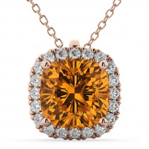Halo Citrine Cushion Cut Pendant Necklace 14k Rose Gold (2.02ct)