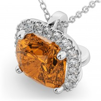 Halo Citrine Cushion Cut Pendant Necklace 14k White Gold (2.02ct)