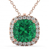 Halo Emerald Cushion Cut Pendant Necklace 14k Rose Gold (2.02ct)