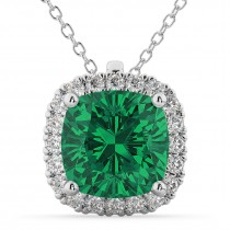 Halo Emerald Cushion Cut Pendant Necklace 14k White Gold (2.02ct)
