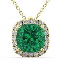 Halo Emerald Cushion Cut Pendant Necklace 14k Yellow Gold (2.02ct)