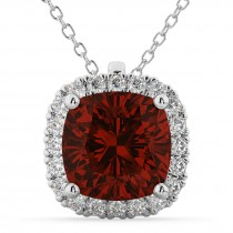 Halo Garnet Cushion Cut Pendant Necklace 14k White Gold (2.02ct)