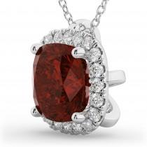 Halo Garnet Cushion Cut Pendant Necklace 14k White Gold (2.02ct)