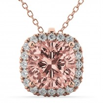 Halo Morganite Cushion Cut Pendant Necklace 14k Rose Gold (2.02ct)