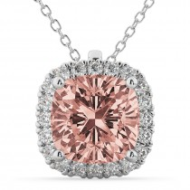 Halo Morganite Cushion Cut Pendant Necklace 14k White Gold (2.02ct)