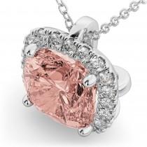 Halo Morganite Cushion Cut Pendant Necklace 14k White Gold (2.02ct)