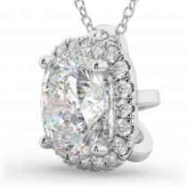 Halo Moissanite Cushion Cut Pendant Necklace 14k White Gold (1.76ct)