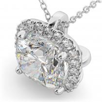 Halo Moissanite Cushion Cut Pendant Necklace 14k White Gold (1.76ct)
