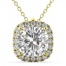 Halo Moissanite Cushion Cut Pendant Necklace 14k Yellow Gold (1.76ct)