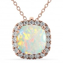 Halo Opal Cushion Cut Pendant Necklace 14k Rose Gold (2.02ct)