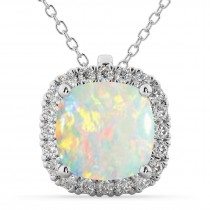 Halo Opal Cushion Cut Pendant Necklace 14k White Gold (2.02ct)