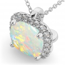 Halo Opal Cushion Cut Pendant Necklace 14k White Gold (2.02ct)