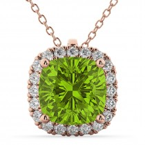 Halo Peridot Cushion Cut Pendant Necklace 14k Rose Gold (2.02ct)