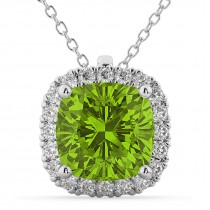 Halo Peridot Cushion Cut Pendant Necklace 14k White Gold (2.02ct)