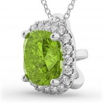 Halo Peridot Cushion Cut Pendant Necklace 14k White Gold (2.02ct)