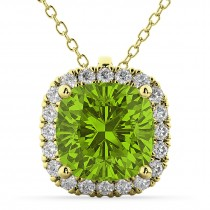Halo Peridot Cushion Cut Pendant Necklace 14k Yellow Gold (2.02ct)