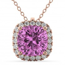 Halo Pink Sapphire Cushion Cut Pendant Necklace 14k Rose Gold (2.02ct)