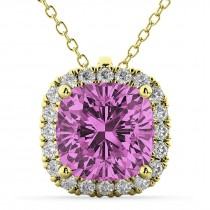 Halo Pink Sapphire Cushion Cut Pendant Necklace 14k Yellow Gold (2.02ct)