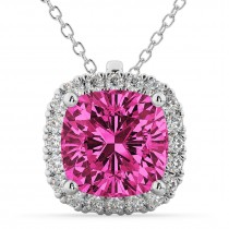 Halo Pink Tourmaline Cushion Cut Pendant Necklace 14k White Gold (2.02ct)