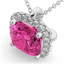 Halo Pink Tourmaline Cushion Cut Pendant Necklace 14k White Gold (2.02ct)