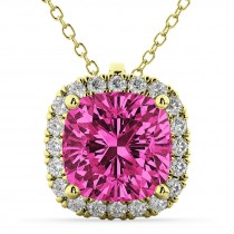 Halo Pink Tourmaline Cushion Cut Pendant Necklace 14k Yellow Gold (2.02ct)