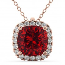 Halo Ruby Cushion Cut Pendant Necklace 14k Rose Gold (2.02ct)