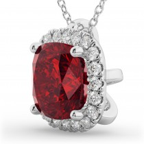 Halo Ruby Cushion Cut Pendant Necklace 14k White Gold (2.02ct)