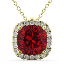 Halo Ruby Cushion Cut Pendant Necklace 14k Yellow Gold (2.02ct)