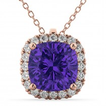 Halo Tanzanite Cushion Cut Pendant Necklace 14k Rose Gold (2.02ct)