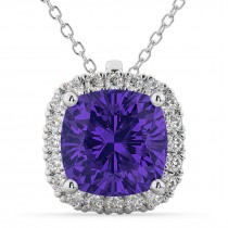 Halo Tanzanite Cushion Cut Pendant Necklace 14k White Gold (2.02ct)