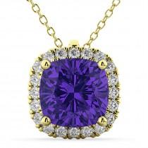 Halo Tanzanite Cushion Cut Pendant Necklace 14k Yellow Gold (2.02ct)