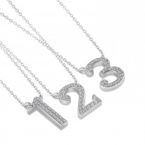 Diamond Personalized Number Pendant Necklace 14k White Gold