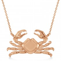 Island Crab Pendant Necklace 14K Rose Gold