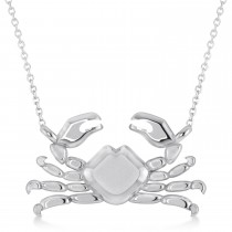 Island Crab Pendant Necklace 14K White Gold