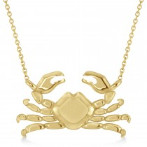 Island Crab Pendant Necklace 14K Yellow Gold