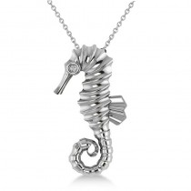 Diamond Summertime Seahorse Pendant Necklace 14k White Gold (0.01ct)